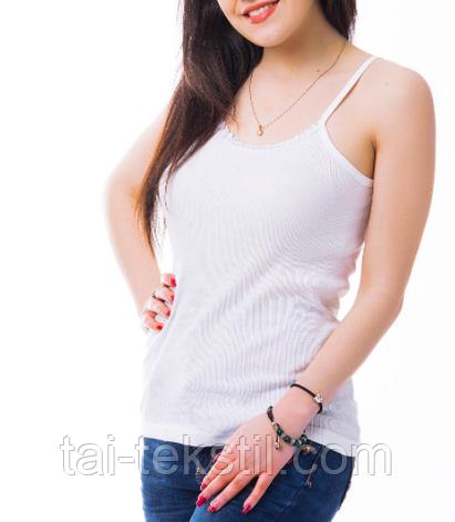 """KO-MI майка женская """"в рубчик"""" Турция хлопок 100 % био-коттон белый цвет L-8 (50-52р), фото 2"""