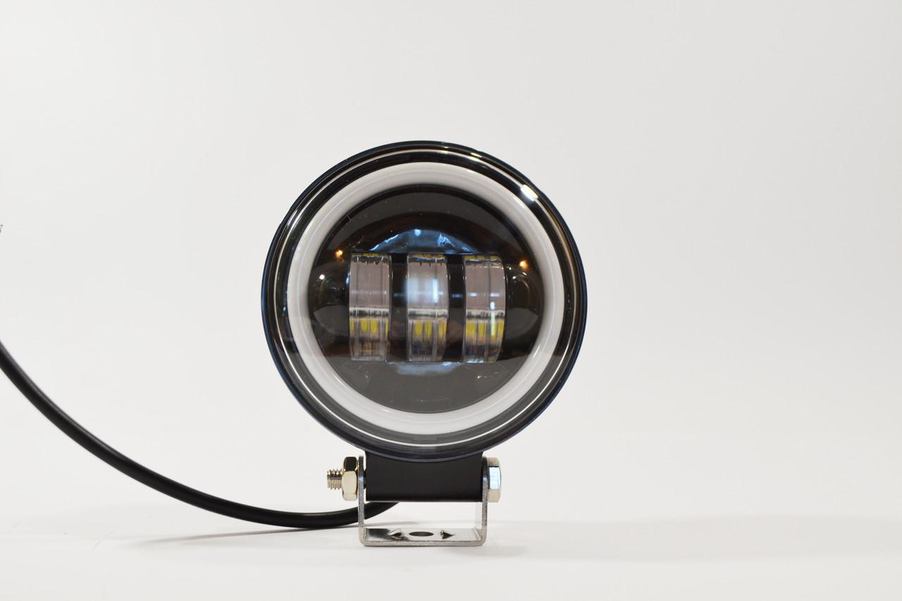 Дополнительная светодиодная LED фара 45Вт Круглая (Ангельский Глаз) Четкой световой теневой границей