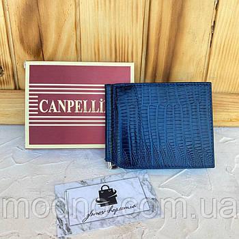 Мужской тёмно-синий кожаный зажим для купюр под крокодила Canpellini