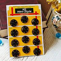 Кнопки пришивные швейные / цвет черный / диаметр 30 мм / упаковка 12 шт