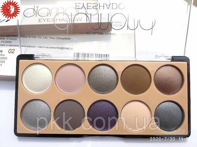 Палетка теней для век MERCI Diamond Eyeshadow матовые и перламутровые 10 цветов M-510 № 02 Серые/коричневые/фи