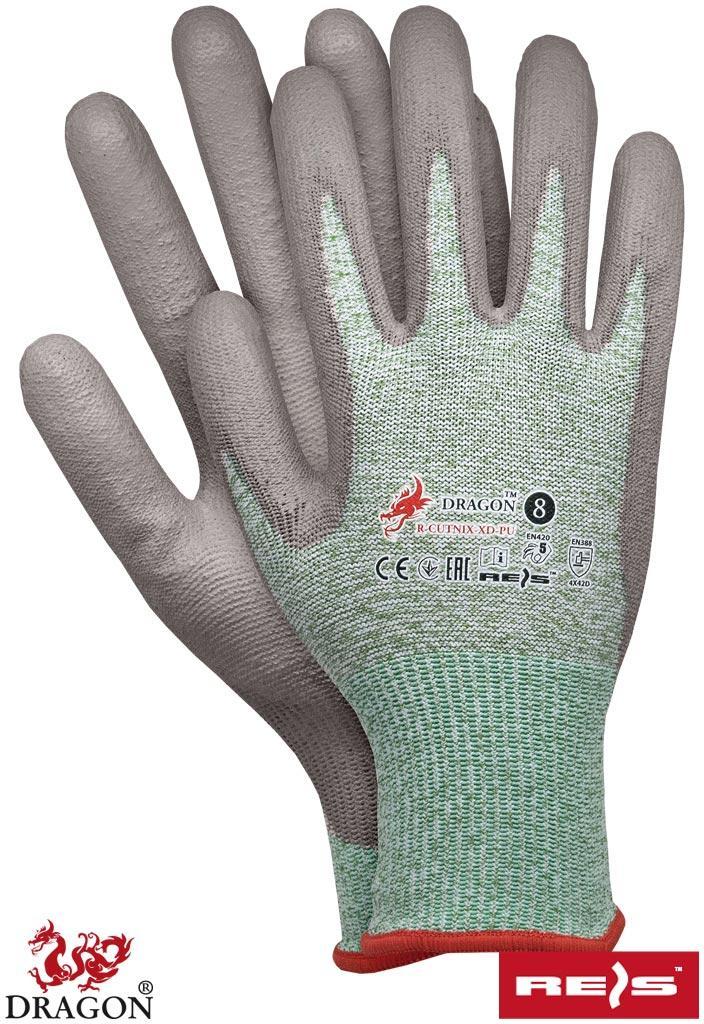 Перчатки рабочие покрытые полиуретаном REIS Польша R-CUTNIX-XD-PU ZS