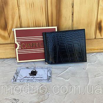 Мужской чёрный кожаный зажим для купюр со структурой под крокодила Canpellini