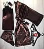Шоколадный комплект домашней одежды,халат+пижама с кружевом