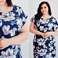 Летнее платье для полных в цветочный принт, большие размеры 48, 50 ,52 (батал)
