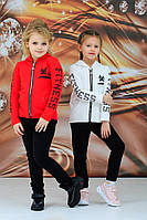 Детский стильный спортивный костюм на девочку FITNESS 3-4 5-6 7-8 9-10 лет розовый красный белый