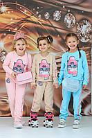 Детский стильный спортивный костюм на девочку Кошка 3-4 5-6 7-8 9-10 лет розовый голубой бежевый