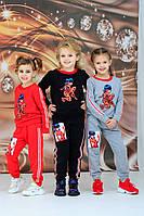 Детский стильный спортивный костюм на девочку Леди Баг  3-4 5-6 7-8 9-10 лет черный серый красный