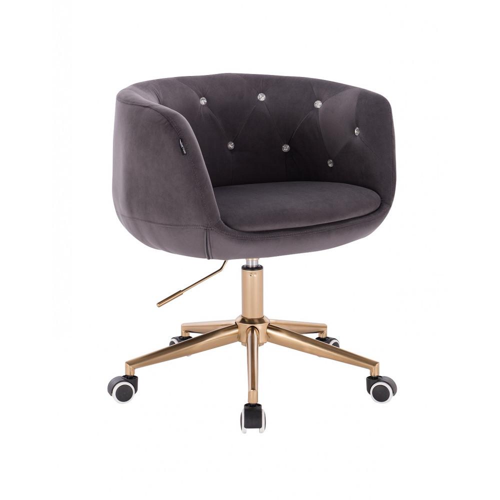Парикмахерское кресло Hrove Form HC333K графит велюр золотое основание