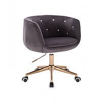Парикмахерское кресло Hrove Form HC333K графит велюр золотое основание, фото 1