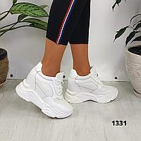 Женские белые кроссовки сникерсы на платформе и танкетке, реальные фото, ОВ 1331, фото 1