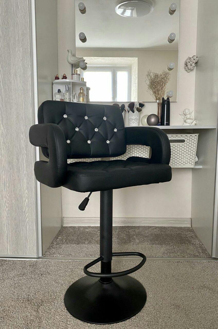 Барний стілець хокер HC8404CW чорний стрази