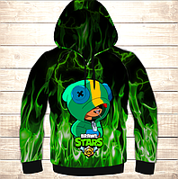 Толстовка 3D Leon Green Fire Brawl Stars