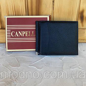 Мужской кожаный чёрный зажим для купюр Canpellini