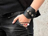 Гипоаллергенный - Черный широкий изящный кожаный браслет  8200 (Ручная работа)
