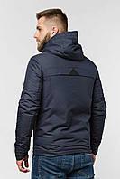Мужская демисезонная куртка черная с капюшоном 50, синий