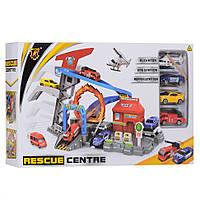 Детский Автотрек - Трехуровневый паркинг со станицей спасателей, 3 машинки и вертолет