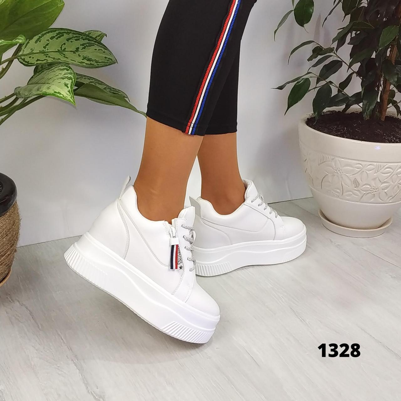 Женские белые кроссовки сникерсы на платформе и танкетке, ОВ 1328