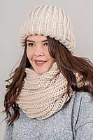 CASKONA Теплая шапка объемной вязки Инфинити - бежевый цвет, ONE SIZE