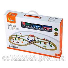 """Дерев'яна """"Залізниця"""" Viga Toys, 49 деталей (56304)"""