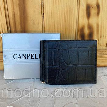 Мужской кожаный зажим для купюр со структурой под крокодила Canpellini