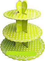 Стенд трёхъярусный картонный круглый для капкейков зелёного цвета с горошком (шт)