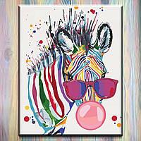 """Картина по номерам ТМ """"Идейка"""" на подрамнике, Животные """"Яркая зебра"""" 40*50 см, без коробки"""