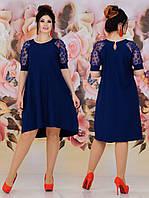 Стильное летнее нарядное свободное платье-трапеция батал с гипюровыми рукавами  (р.48-62). Арт-2231/42, фото 1