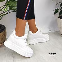 Женские белые кроссовки сникерсы на платформе и танкетке, реальные фото ,ОВ 1327, фото 1