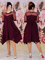 Ошатне літній асиметричне вільний батальне сукню з гипюровыми рукавами (р. 48-62). Арт-2232/42, фото 1