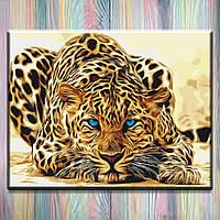 "Картина по цифрам ТМ ""Идейка"", холст на подрамнике, Животные ""Дикая кошка"" 40х50 см, без коробки"