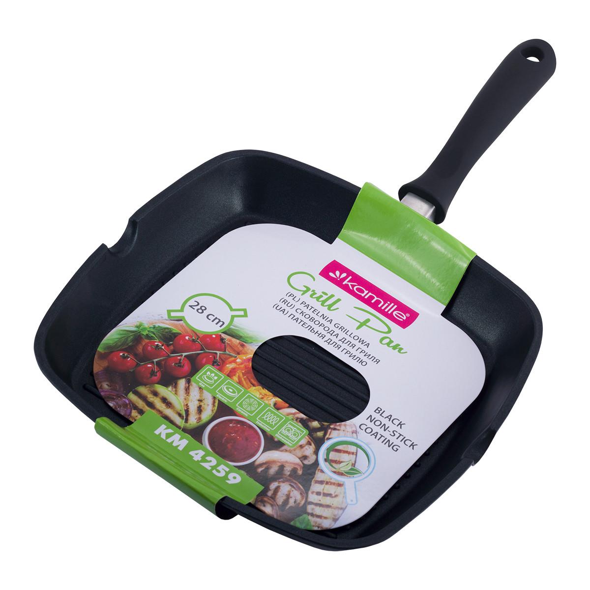Сковорода-гриль Kamille 28*28*4см с антипригарным покрытием без крышки для индукции и газа KM-4259