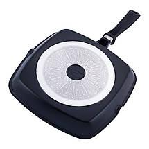 Сковорода-гриль Kamille 28*28*4см с антипригарным покрытием без крышки для индукции и газа KM-4259, фото 3