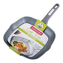 Сковорода-гриль Kamille 28*28*4см с гранитным покрытием без крышки для индукции KM-4278GR