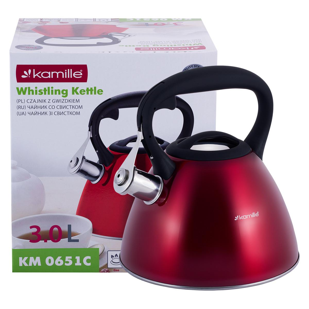 Чайник Kamille 3л из нержавеющей стали со свистком и черной бакелитовой ручкой для индукции и газа KM-0651C