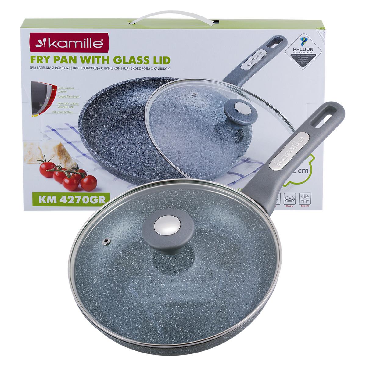 Сковорода Kamille 22см с гранитным покрытием и крышкой для индукции и газа KM-4270GR
