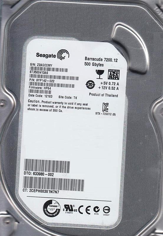 Накопитель HDD SATA 500GB Seagate Barracuda 7200.12 7200rpm 16MB (ST3500413AS) гар. 12 мес. Восстановленный