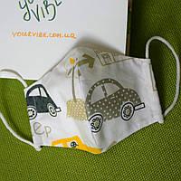 Маска детская Машинка защитная трехслойная многоразовая. Мягкая резинка. Отправка в день заказа