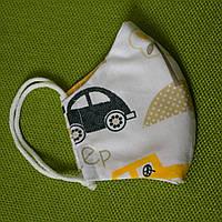 Маска детская Машинка защитная двухслойная многоразовая. Мягкая резинка. Отправка в день заказа