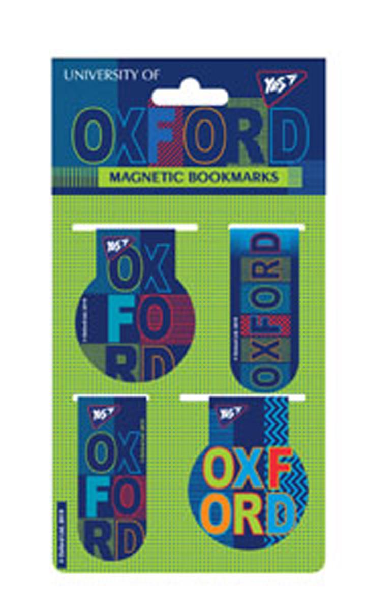 Закладки магнитные YES &ampquotOxford&ampquot, 4шт, Украина