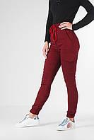 Джоггеры жіночі брюки з стрейч-котону, приталені жіночі штани бордові з кишенями VS 1087, фото 1