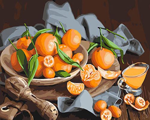 Картина по номерам. Натюрморт  Оранжевое наслаждение  40*50см