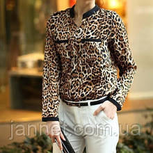 Женская блузка леопардовая с длинным рукавом - М (бюст 88-92см, плечо 38см), креп шифон, на пуговицах