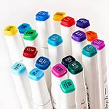 Художні маркери для скетчинга для початківців, Набір двосторонніх маркерів Touch Multiicolor 24 штук, фото 7