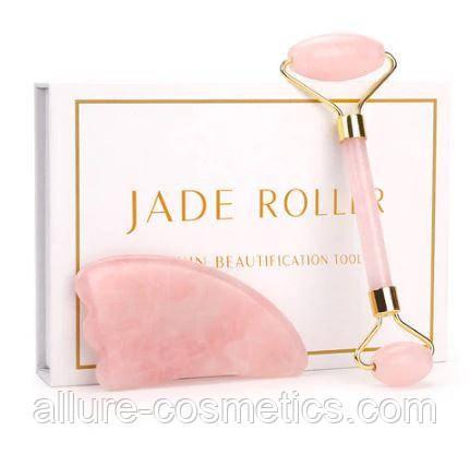 Набор роллер и скребок гуаша из розового кварца для массажа лица магазины техника для дома в донецке