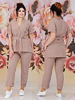 Прогулочный льняной брючный батальный костюм двойка: туника + брюки (р.48-62). Арт-2237/42, фото 1