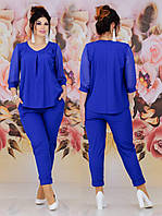 Ошатний жіночий брючний батальний костюм двійка: блузка + штани (р. 48-62). Арт-2238/42, фото 1
