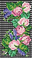 Цветочная ветка с чайной розой  Схема полной вышивки бисером