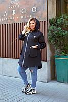 Кардиган осений с капюшоном и двумя наружными карманами   джинс  котон   в больших  размерах Черный, 64-66