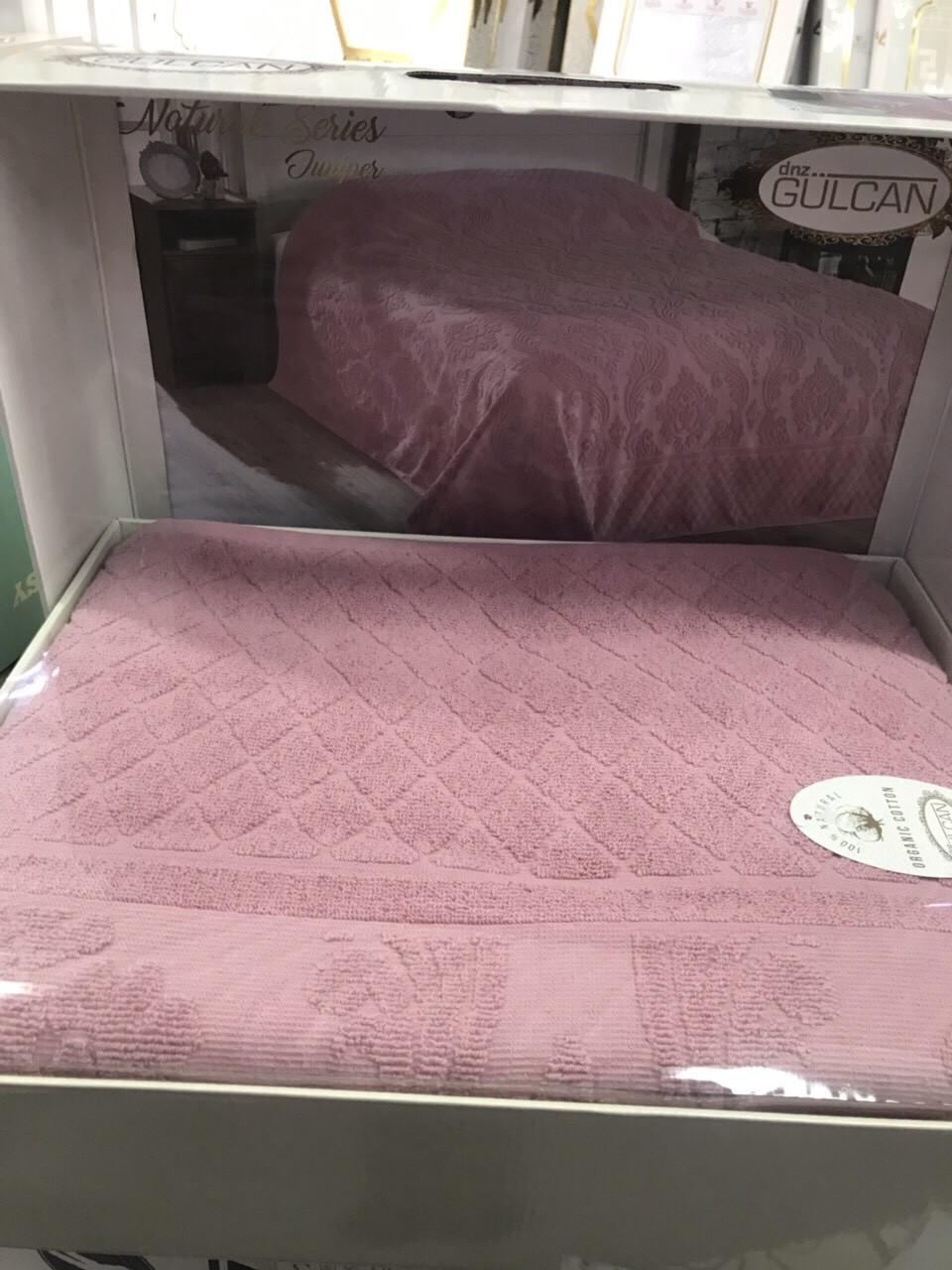 Простынь махровая жаккардовая  200 на 220 см  Gulcan розовая. Новинка 2021 года!